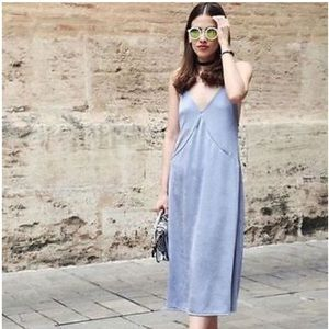 Zara Grey-blue Slinky Midi Dress